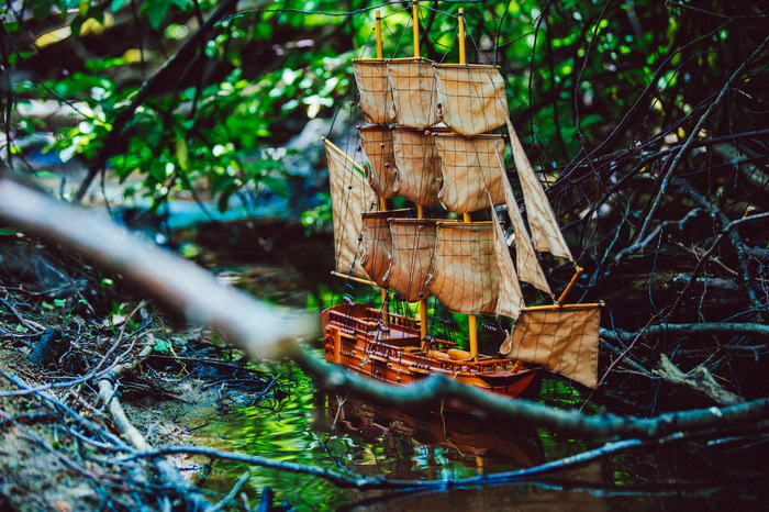 Корабли в лесу Лес, Корабль, Река, Модели, Длиннопост
