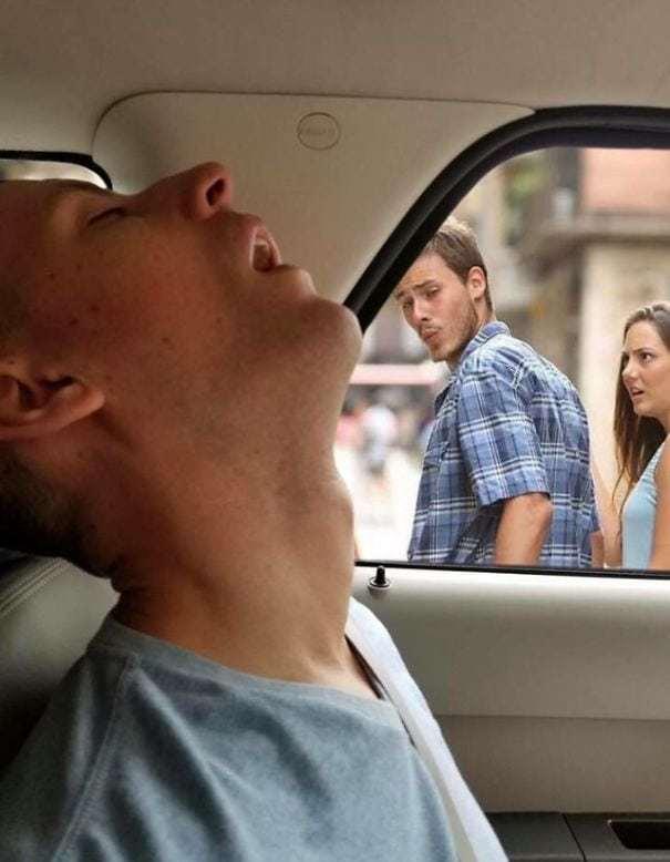 Парень заснул в машине, и его подруга попросила мастеров фотошопа поиграть с его фото. Те и поиграли Photoshop, Парни, Уснул, Прикол, Длиннопост, Фотожаба