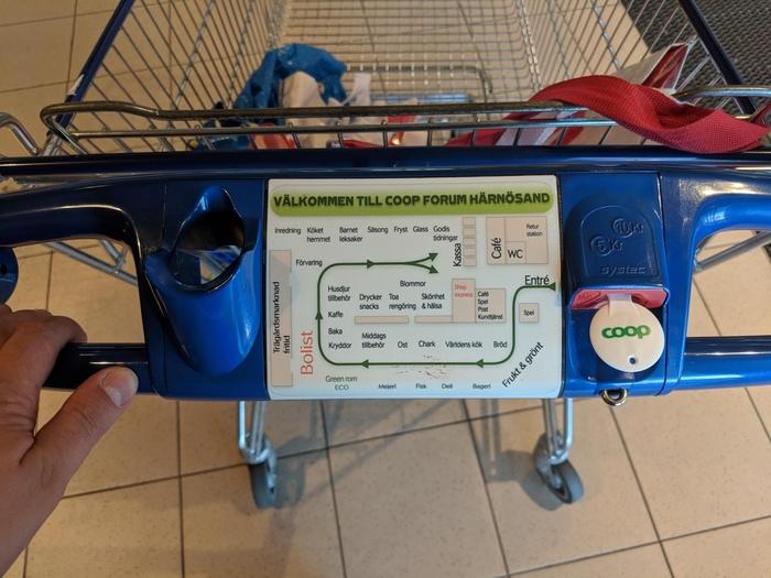 В шведском супермаркете на каждой тележке есть карта торгового зала