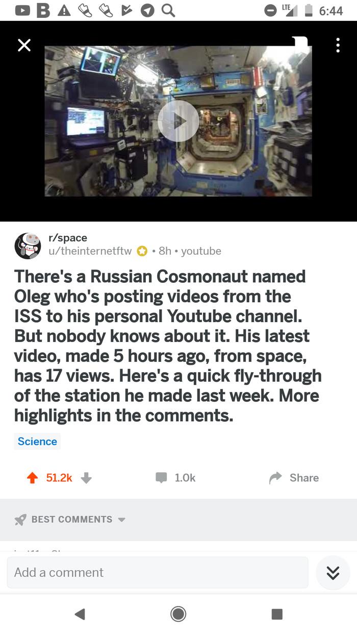 Как реддит российскому космонавту просмотры поднял Космос, Reddit, Youtube, Видео, Наука, Длиннопост