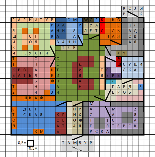 Планировка одноэтажного дома 10,5х12м Дом, Строительство, Планировка
