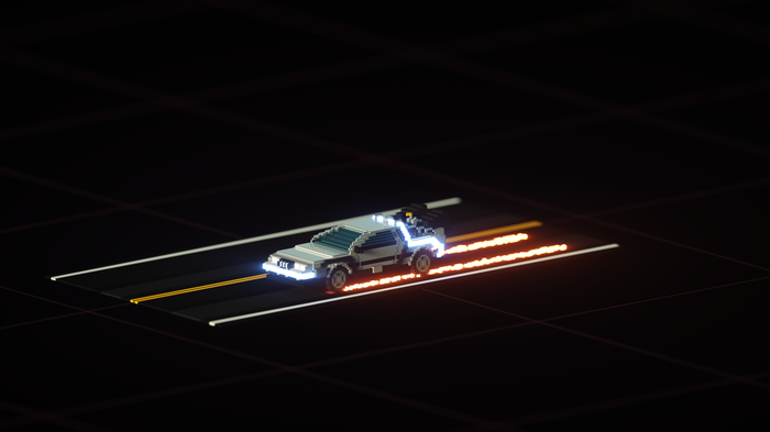 "Voxel-art ""DeLorean DMC-12"""