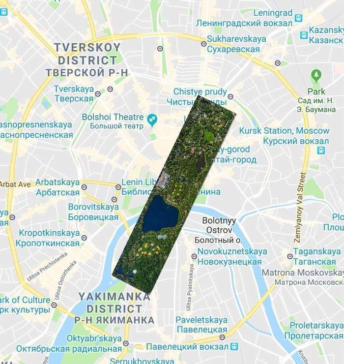 На минуточку представим, как бы выглядел Центральный парк Нью-Йорка на карте Москвы в масштабе 1:1! Нью-Йорк, Москва, Центральный парк, Визуализация