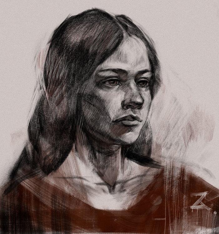 Увлекся образом в учебном портрете) Рисунок, Арт, Портрет, Цифровой рисунок, Иллюстрации, Photoshop, Длиннопост, Девушки