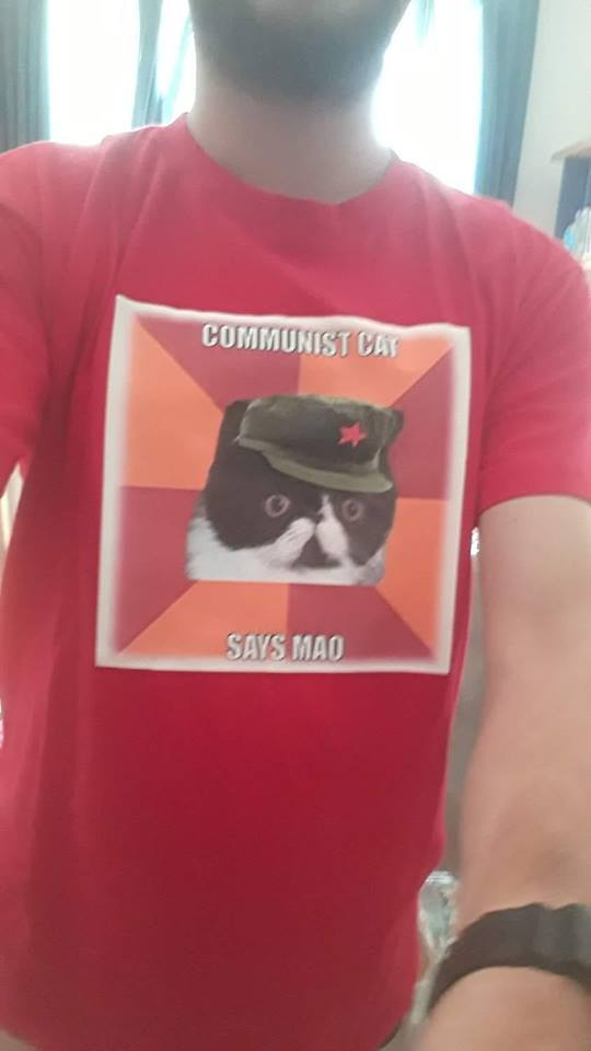 Коммунистический кот Кот, Принт, Футболка, Мао