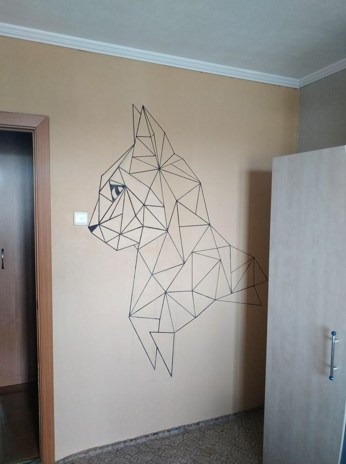 Когда кажется что стена слишком пустая. Котейка придет на помощь.