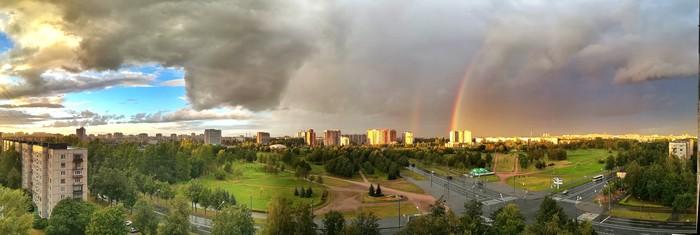 Радуга Радуга, Дождь, Пейзаж, Панорама, Солнце, Санкт-Петербург