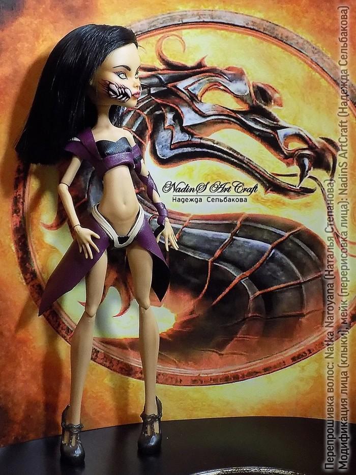 Милина (Mortal Combat). Ооак из куклы Монстр Хай Ооак, OOaK, Кукла, Перерисовка, Милина, Mileena, Mortal kombat, Ручная работа, Длиннопост