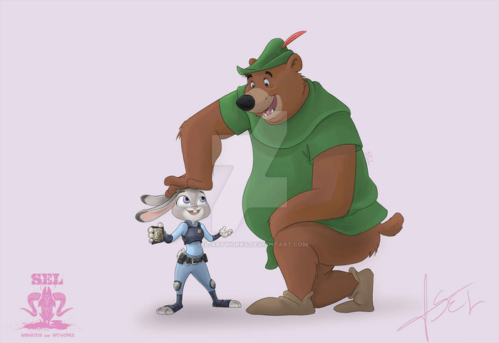 Ник Уайлд и Робин Гуд. Малыш Джон и Джуди Хопс. Nick Wilde, Робин Гуд, Зверополис, Медведь, Judy Hopps, Уолт Дисней