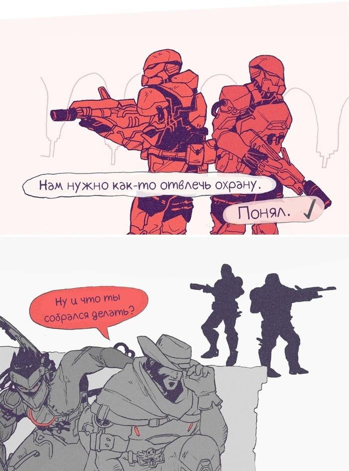 Гэндзи разбирается в тактике. Overwatch, Blizzard, Игры, Комиксы, Genji, McCree, Длиннопост
