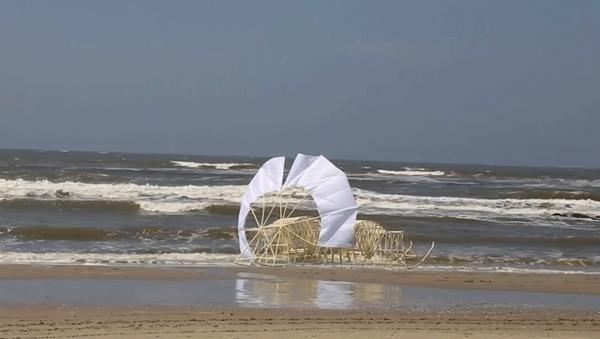 Чудеса кинетической скульптуры от Тео Янсена Видео, Гифка, Кинетическая скульптура, Длиннопост, Пляж, Море
