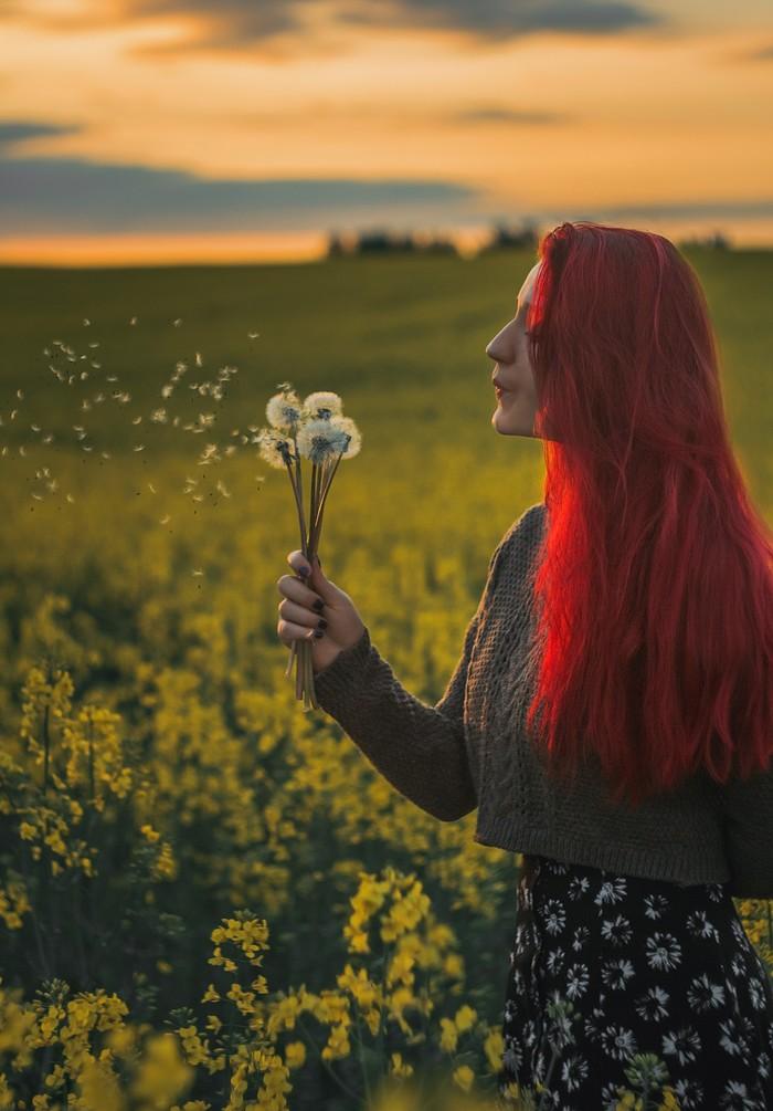 Поле, Гелиос, красные волосы и кусочек города. Фотография, Гелиос, Поле, Закат, Девушки, Город, Canon, Солнце, Длиннопост