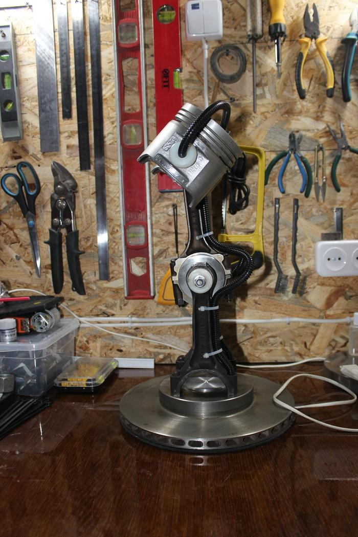 Лампа для авто слесаря) проект закончен на 90% Настольная лампа, Поршень, Длиннопост