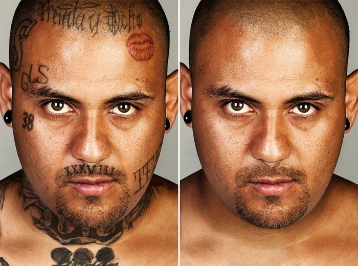 Заретушированные татуировки гангстеров Тату, Фотография, Портреты людей, Латиноамериканцы, Уголовники, Длиннопост