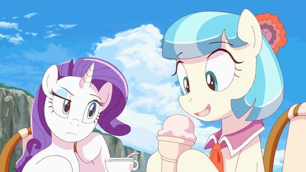 Коко Поммель лижет мороженое My Little Pony, Rarity, Coco Pommel, Гифка