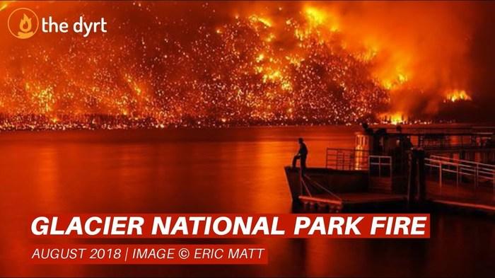 Отец и сын чудом спаслись из горящего леса Пожар, США, Национальный парк Глейшер, Чудо, Спасение, Видео, Длиннопост