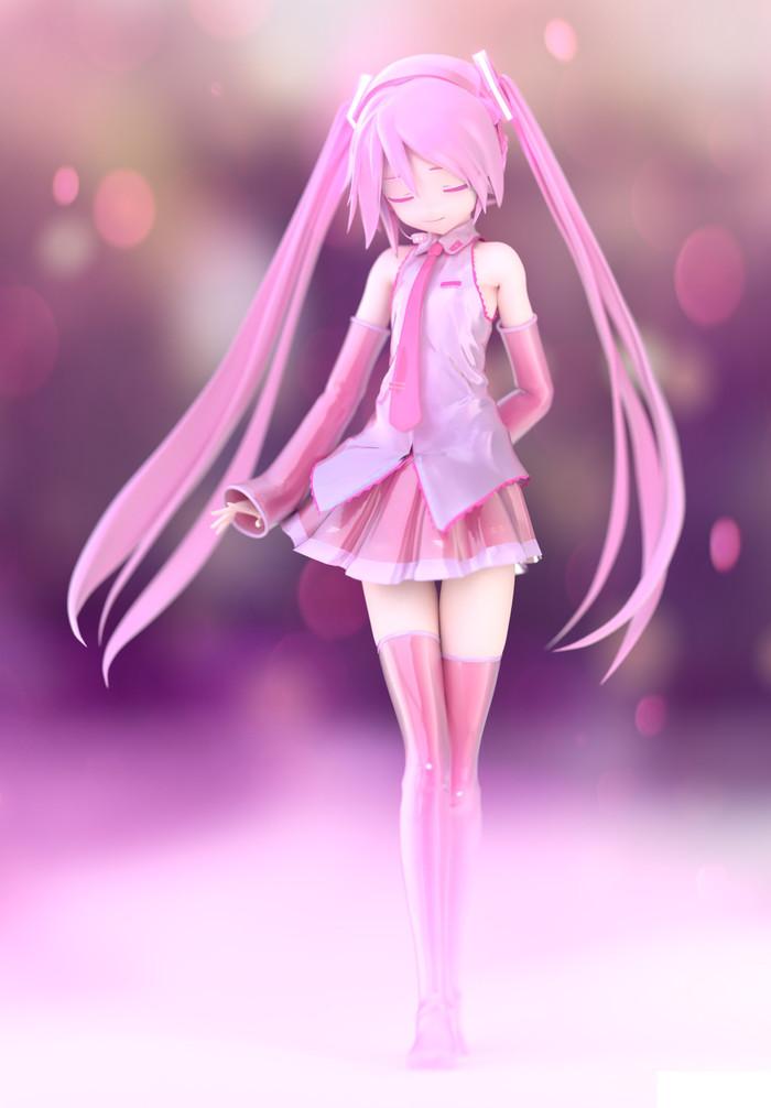Hatsune Miku - Appearance Model - Render Hatsune Miku, Render, MMD, Appearance, Аниме, Anime Art, Длиннопост