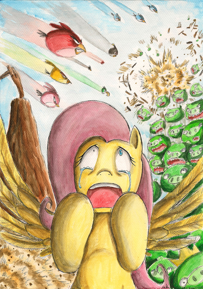 Make peace, dont war! My little pony, Angry Birds, Crossover, Fluttershy