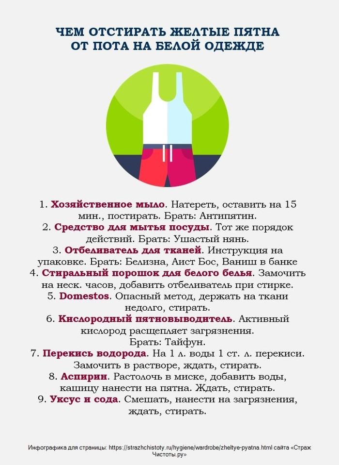 Как отстирать желтые пятна на подмышках на белом Уборка, Стирка, Одежда, Мода, Совет, Лайфхак, Белый
