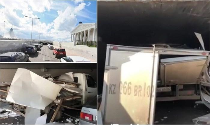 """Фургон разбился в хлам: """"Газели"""" снесло крышу мостом в Астане (видео) Казахстан, Астана, Газель, Мост, Ты не пройдешь"""