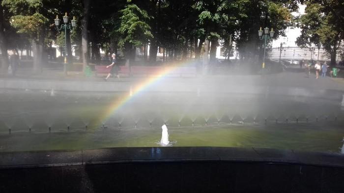 Радуга в фонтане, обожаю, когда так