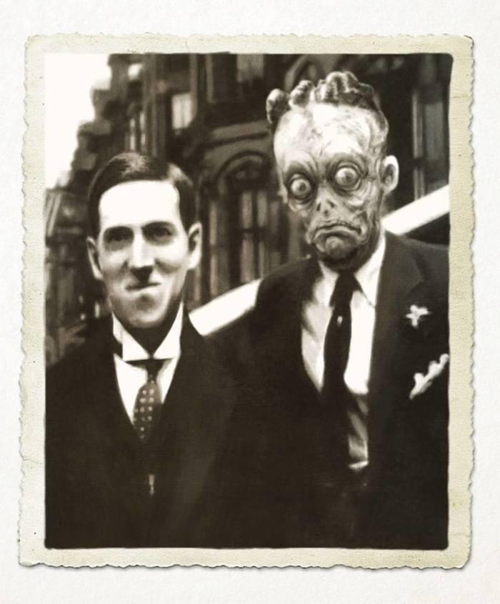 Лавкрафт с старым другом Говард Филлипс Лавкрафт, Старое фото, Шутка