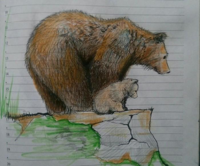 Зарисовки на служебном совещании. Рисунок карандашом, Рисунок, Карандаш, Начинающий художник, Длиннопост, Медведь, Животные, Воин