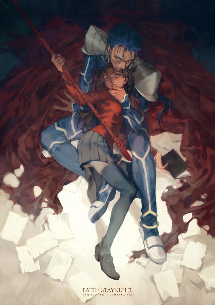 Anime art Fate, Fate-Stay night, Tohsaka Rin, Archer, Lancer, Аниме, Длиннопост