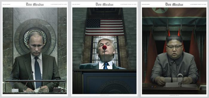 Лидеры Политика, Путин, Трамп, Ким чен ын, Карикатура