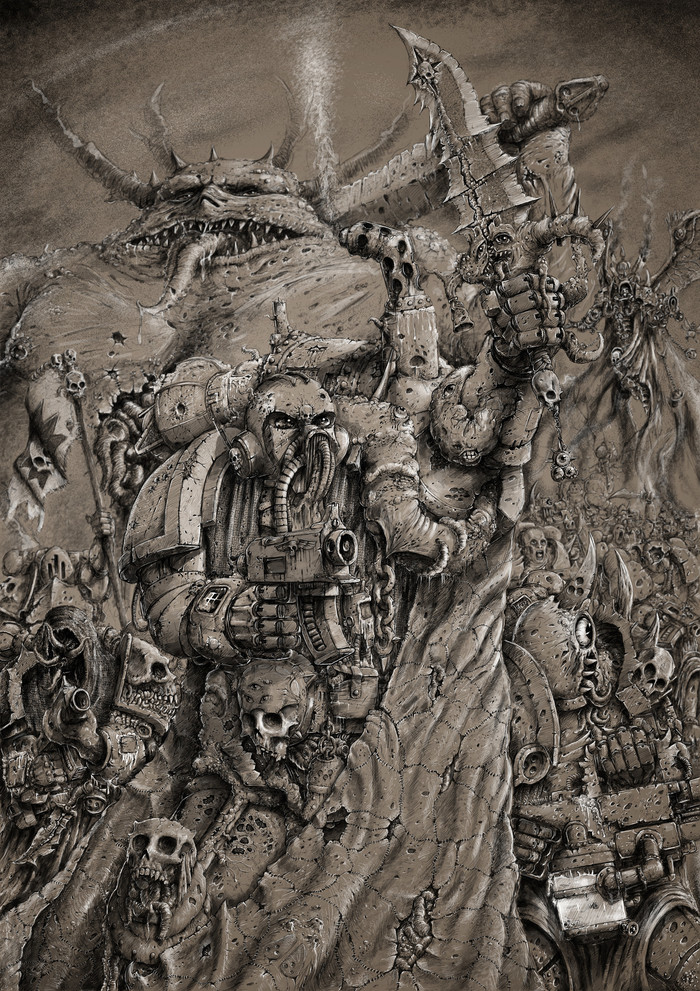 Tide of Corruption. Warhammer 40k, Wh art, Chaos Daemons, Death Guard, Мортарион, Нургл, Арт