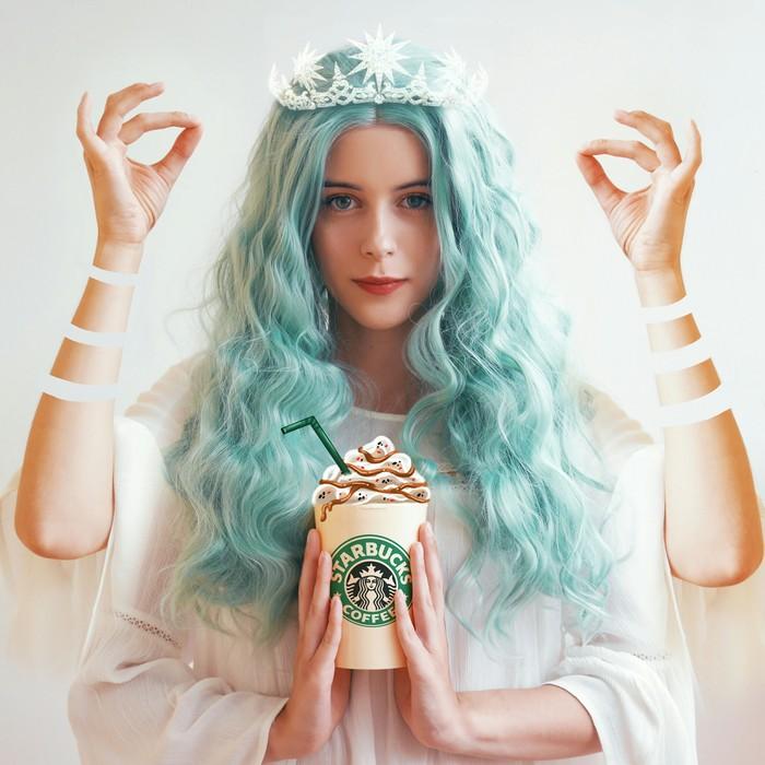Косплей логотипа Starbucks Starbucks, Косплей, Перевоплощение, Логотип