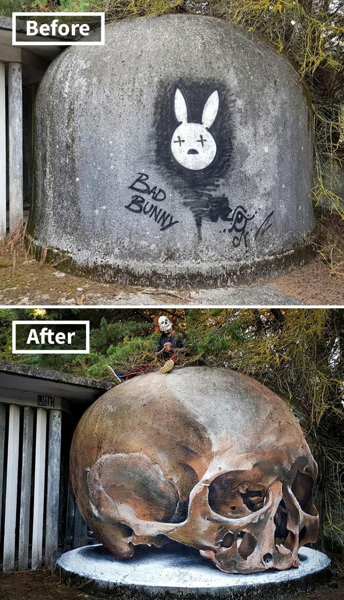 Португальский уличный художник Sergio Odeith Уличные художники, Было, Что стало, Длиннопост