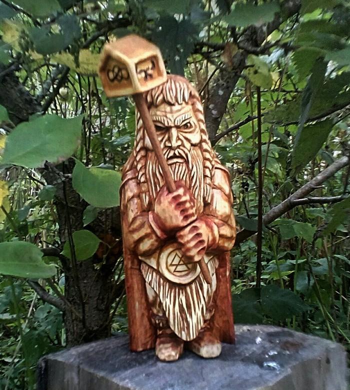 Скандинавский бог ТОР, материал липа, высота 16,5см. Резьба по дереву, Скандинавская мифология, Тор, Длиннопост