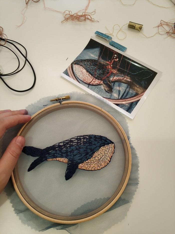 Поют киты Вышивка, Вышивка гладью, Рукоделие, Своими руками, Кит, Животные, Млекопитающие, Морские обитатели