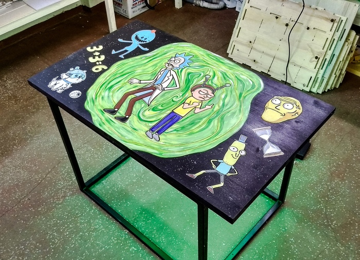 """Проект стола """"Рик и Морти"""" итог) CNC, Эпоксидная смола, Рик и морти, Рик санчез, Журнальный столик, Мебель и интерьер, Длиннопост"""