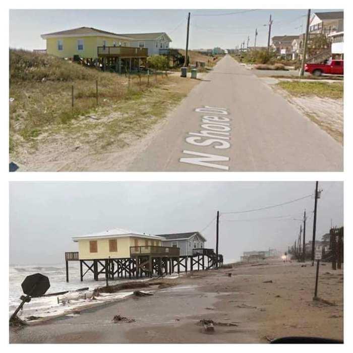 Улица в Северной Каролине до и после урагана Флоренс.