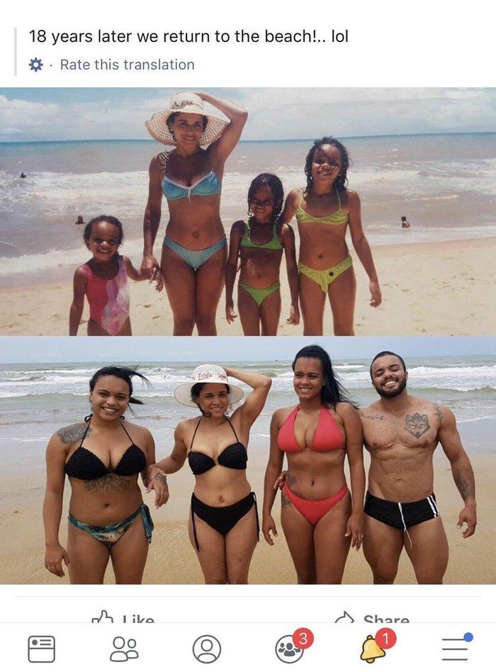 Семья повторила своё фото 18 лет спустя. Было-Стало, Пляж, Семья, Фотография