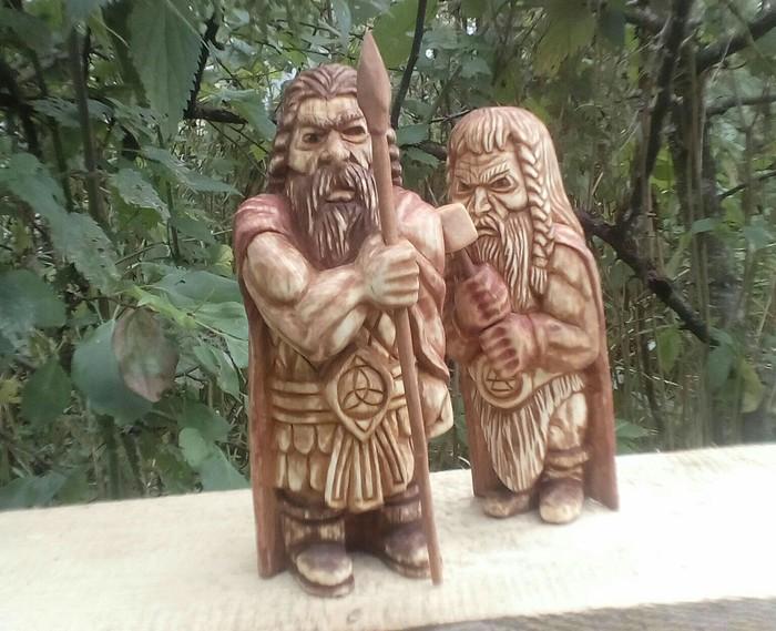 ОДИН и ТОР, материал липа. Скандинавская мифология, Резьба по дереву, Тор, Один