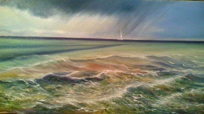 На горизонте дождь. Моя картина Картина, Картина маслом, Живопись, Творчество, Море, Корабль