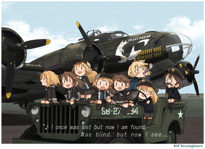 Boeing B-17 Flying Fortress и Willys MB (художник: Kitsuneno Denpachi)