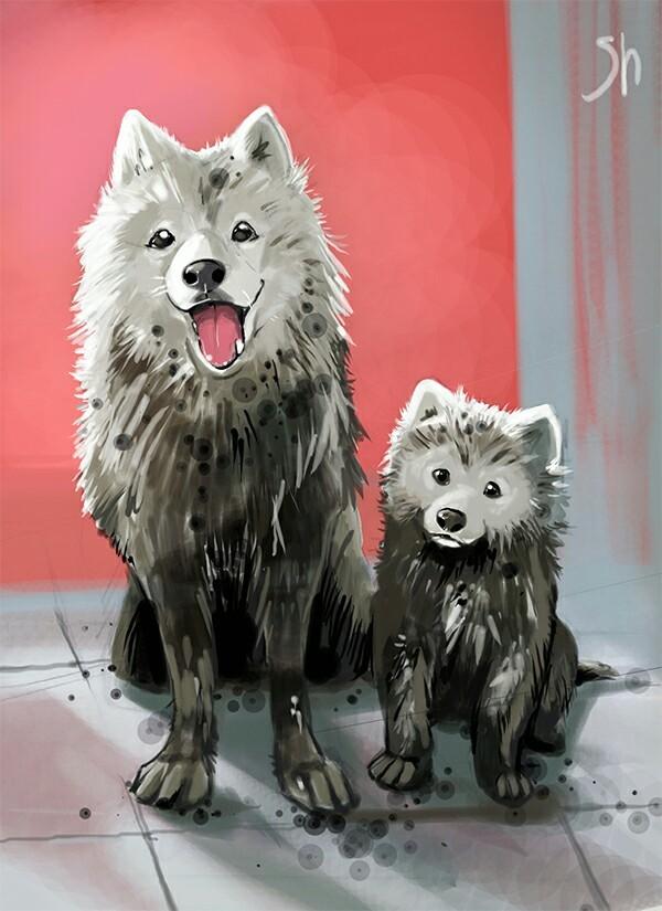 Жалкая пародия и неповторимый оригинал 2 Собака, Иллюстрации, Сравнение, Длиннопост, Животные, Анималистика, Рисунок, Цифровой рисунок