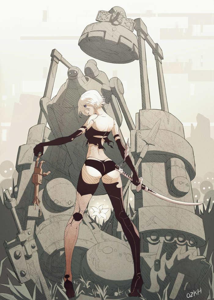 A2 Art Nier automata, A2 nier, Yorha unit no 2 type a, Арт, Anime Art, Компьютерные игры