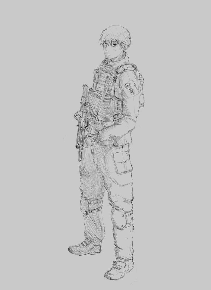 Набросок Рисунок, Солдаты, Цифровой рисунок, Скетч, Аниме
