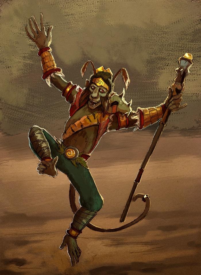 Весёлый шнуропс Скетч, Рисунок, World of Warcraft, Король обезьян, Пандария