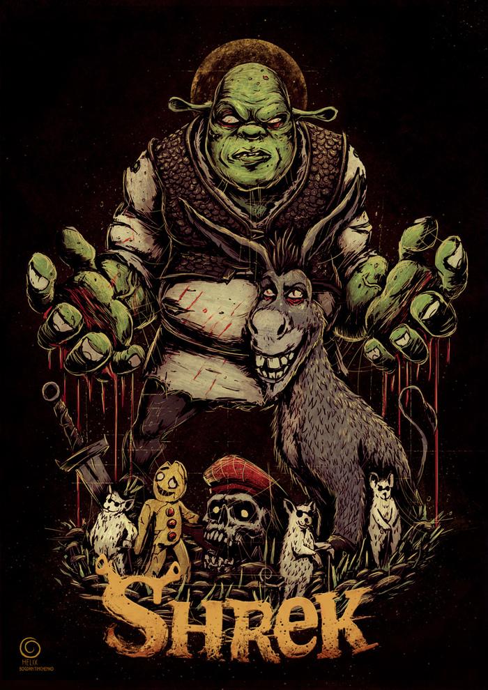 Shrek is love. Shrek is life Шрек, Принт, Длиннопост, Рисунок, Цифровой рисунок, Мультфильм
