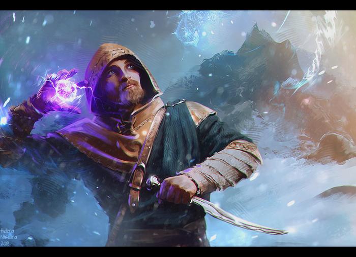 Somewhere in Skyrim... Арт, Фан-Арт, Елена Никулина, Игры, Skyrim, The Elder Scrolls V: Skyrim, Снег, Магия
