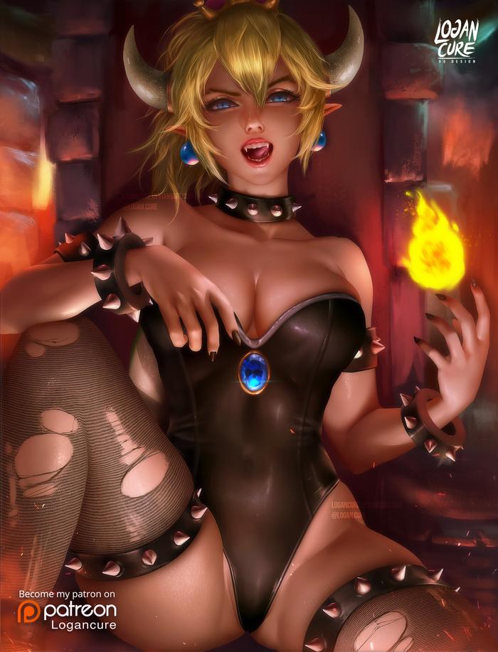 Bowsette Art Арт, Logan Cure, Logancure, Super Mario, Bowsette, Правило 63, Супер корона