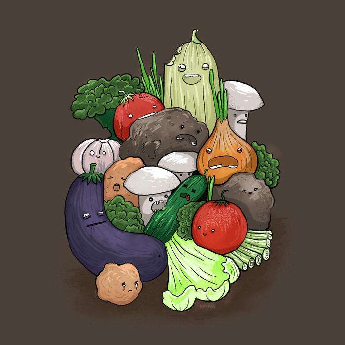 Зомбо-овощной дудл Зомби, Дудл, Овощи, Натюрморт, Грибы, Цифровой рисунок