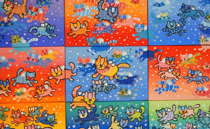Много котиков. Кот, Акрил, Рисунок, Мозаика, Диана Зименс, Арт