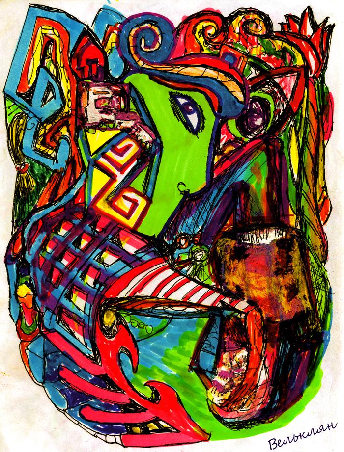 Pata Roger Рисунок, Психоделика, Разноцветность, Графика, От руки, Картина